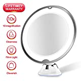 JUHALL 10X Magnifying Makeup Vanity Mirror With Lights, LED Lighted Bathroom Mirror Cosmetic