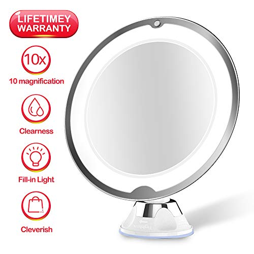 JUHALL 10X Magnifying Makeup Vanity Mirror With Lights, LED Lighted Bathroom Mirror Cosmetic Magnification Light up Mirrors with Strong Suction Cup, 360 Degree Swivel, Daylight, Cordles (white)