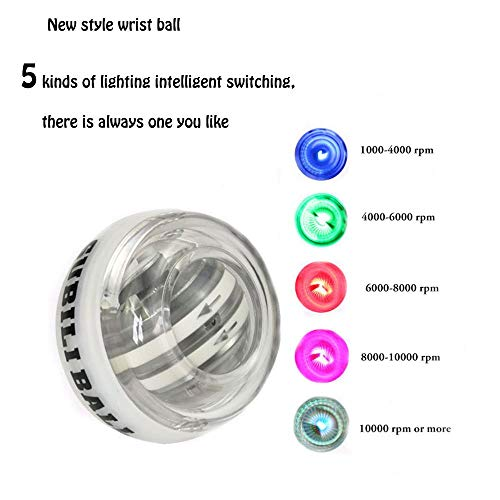 OCTTN 5 Colorfull AUTO Start 2.0 Power Ball, Wrist Trainer Forearm Exerciser Ball, Wrist Exercises Force Wrist Strengthener Workout ball, Toy Spinner Gyroscope Ball