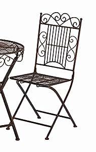 Silla Turín metal color marrón oscuro silla plegable silla de jardín silla de metal