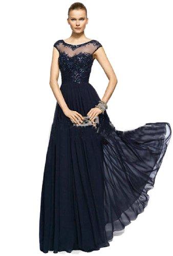 IBEAUTY DRESS Elegant Chiffon Half Sleeve Long Evening Dress Sapphire Blue US 6