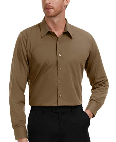 (PAUL JONES Men's Business Casual Long Sleeves Dress Shirts Coffee)