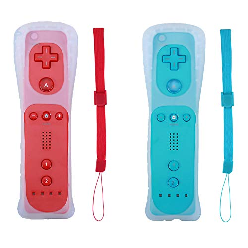 Poglen 2 Packs Wireless Gesture Controller Compatible for Nintendo wii/wii u Console - with Silicone Case and Wrist Strap for wii Controller (Red and Blue) ()