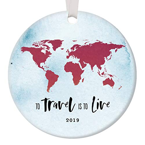 2019 Seasonal Ceramic Ornament Traveler Holiday Memento Keepsake Gift Wanderlust See the World New Adventures Places to Go Tree Decoration Christmas Present 3