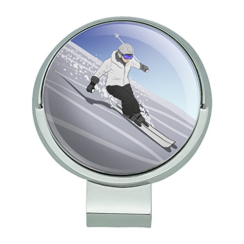 (GRAPHICS & MORE Skiing Down Mountain Skier Snow Skis Golf Hat Clip with Magnetic Ball Marker)