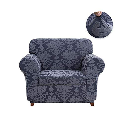 - CHUN YI 2-Piece Stretch Jacquard Damask Elegant Collection Sofa Slipcover Easy Fitted Couch Cover Stretchable Durable Furniture Protector (Chair, Grayish Blue)