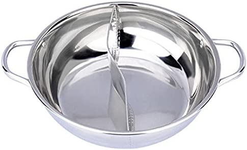 Moligh doll 28cm Hot Pot Twin Divided Stainless Steel 28cm Cookware Hot Pot Ruled Compatible Soup Stock Pots Home Kitchen