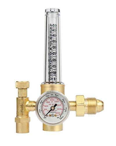 Connection Single Stage Flow Meter - Victor Technologies 0781-2723 HRF-1425-580 Light Duty Flow Meter Cylinder Nitrogen/Argon/Helium Regulator, 50-38 SCFH Flow Range, 25 psig Outlet Pressure