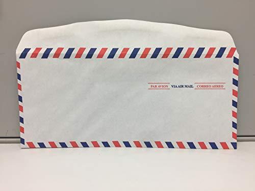 #10 Regular Envelopes (4 1/8 x 9 1/2) - AirMail - 20lb White Wove - 25 Envelopes per Pack
