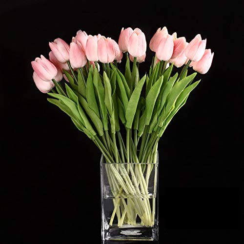 Flower Latex - 10pcs Tulip Flower Latex Real Touch Decor Flowers Pink - Silk Hyacinths Pink Wildflowers Lavender Dark Backdrops Navy Delphinium Arrangement Keyboard Yellow Dragon Breath Starg