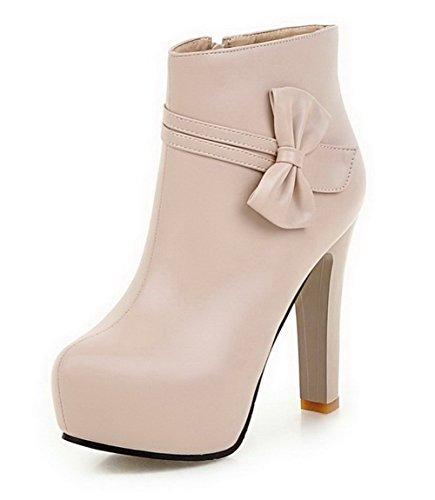 AllhqFashion Damen Reißverschluss Rund Zehe Stiefel Cremefarben