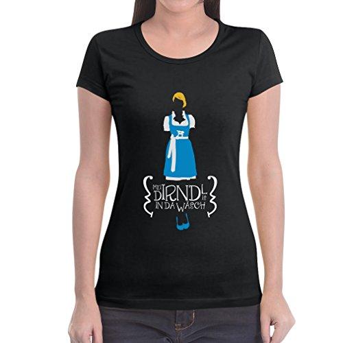Mei Dirndl Is In Da Wäsch - Witziges Oktoberfest Dirndl Shirt Frauen T-Shirt Small Schwarz