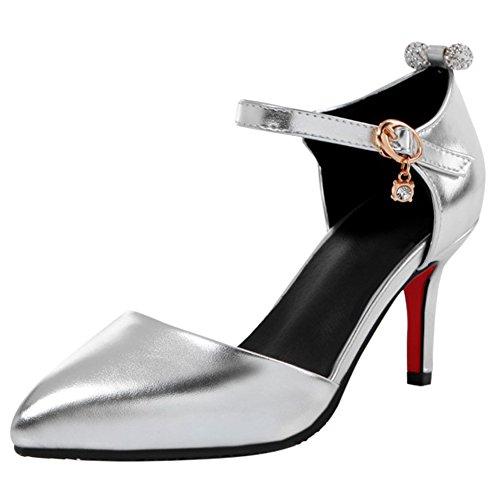YE Damen Kitten Heels Spitze Ankle Strap Pumps mit Riemchem Glitzer Elegant Schuhe