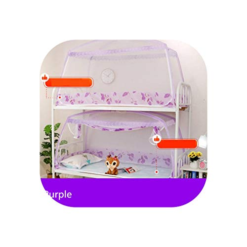 (1 Piece 0.9M Mosquito Net for Dormitory Students Bunk Bed Kids Small Bed Mongolian Yurt Mosquito Net with Lace Decor 3 Colors,Purple,90X195X95Cm)