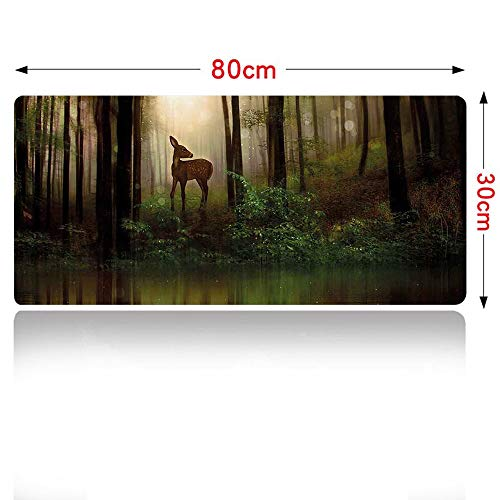 Nature Mouse pad Baby Deer in The Forest with Reflection on Lake Foggy Woodland Graphic Mouse Pad Large Size 700x300mm Fern Green Cocoa Brown - Cocoa 700