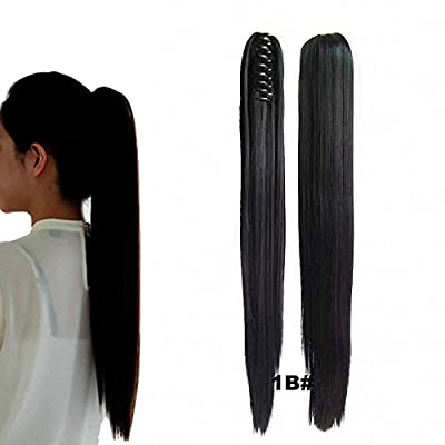 "FESHFEN 22"" 170g Hair Piece Pony Tail Ponytail Hair Extensions Hairpiece Long Straight/Voluminous Curled Wavy Clip In/On Claw Ponytail 1B# Natural Black"