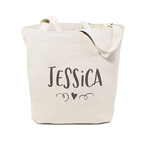 The Cotton & Canvas Co. Personalized Name with Mini Heart Beach, Shopping and Travel Resusable Shoulder Tote and (Heart Canvas Bag)