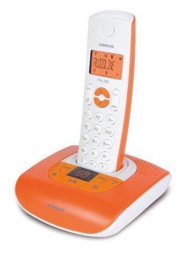 Audioline Pro 280 Color Schnurloses DECT-Telefon mit Freisprechen, orange beleuchtetem Display und Anrufbeantworter leuchtorange