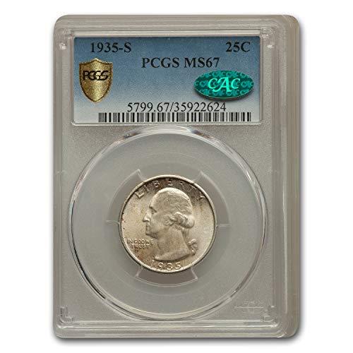 1935 S Washington Quarter MS-67 PCGS CAC Quarter MS-67 PCGS