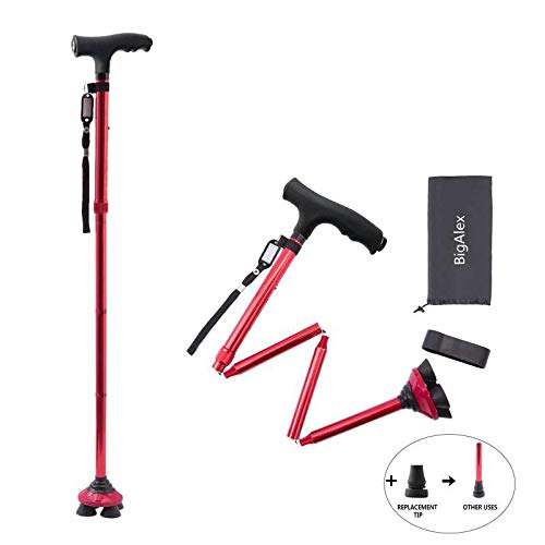 BigAlex Folding Walking Cane with LED Light,Pivoting Quad Base,Adjustable Walking Stick with Carrying Bag for Man/Woman (4.9