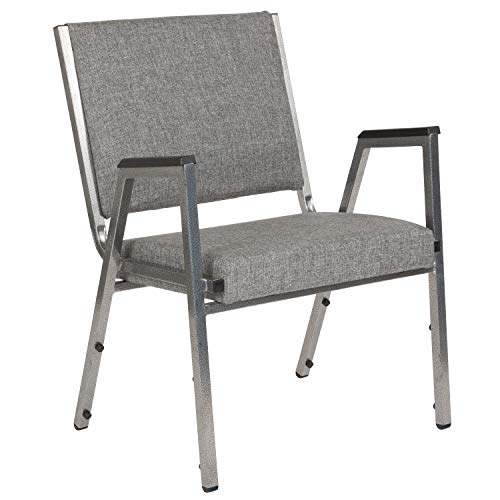 Flash Furniture HERCULES Series 1500 lb. Rated Gray Antimicrobial Fabric Bariatric Arm Chair with Silver Vein Frame