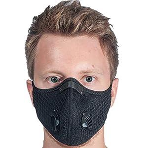 MaskFit20 Masque Noir avec Valve, Masque de protection réutilisable + Filtre, Masque en tissu lavable, Masque de…