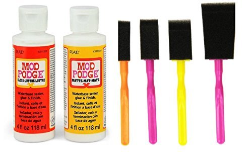 - Mod Podge Decoupage Starter Kit Bundle with 6 Items -- Gloss and Matte Medium with 4 Foam Brushes