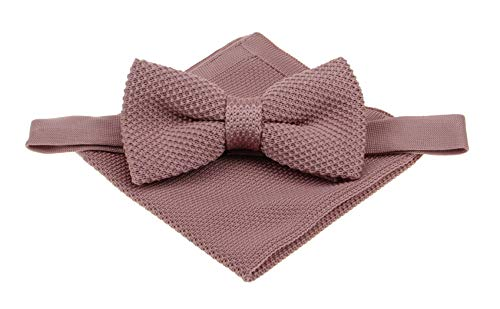 (Mens Plain Knitted Bowtie and Pocket Square Set-Various Color (Dusty Rose Pink))