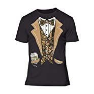 Camo Tuxedo with Bowtie and Beer Can T-shirt Funny Shirts