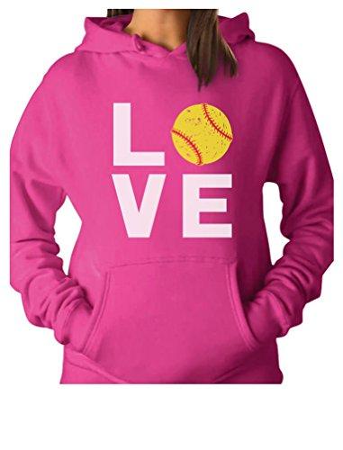 TeeStars - Love Softball - Gift for Softball Fans Women Hoodie Medium Pink