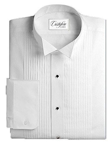Cardi Mens Wing Collar Tuxedo Shirt 1/4 Inch Pleat, Slim Fit XL (34 Tuxedo)