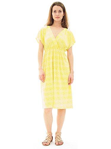 Avanti Bottega Women's Surplice Diamond Print Midi Dress L Yellow Diamond