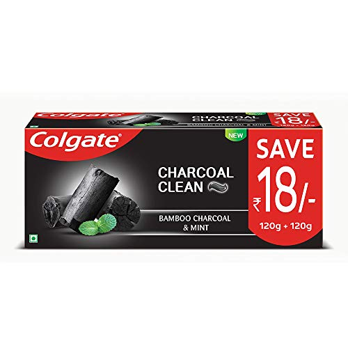 """Colgate Charcoal Clean Deep Clean Toothpaste, Bamboo Charcoal and Mint (Black Gel) €"""" 240g Saver Pack"""