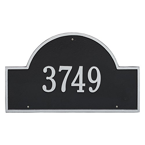 Whitehall Products Arch Marker Estate Black/Silver Wall 1-Line Address Plaque