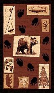 2X3 Country Theme Bear Fishing Paws Tan Brown Mat Rug by Persian Rugs