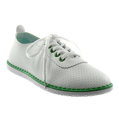 Angkorly Damen Schuhe Sneaker - Tennis - Perforiert - Fertig Steppnähte Flache Ferse 1.5 cm Grüne