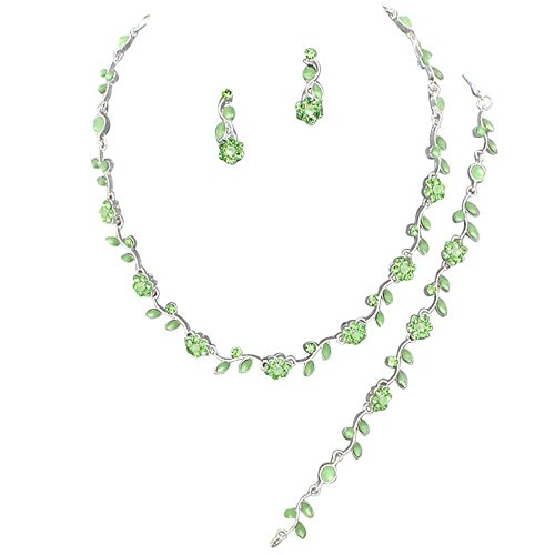 a48dc66a4c50a0 Affordable Lime Green Color Crystal Rhinestone Bridesmaid 3 Bridal Necklace,  Earring, Bracelet Set I3