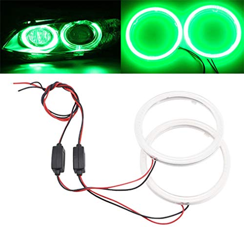 Qasim 1 Pair Green 63SMD 80MM Car Angel Eyes COB LED Halo Ring Lamp Headlight with Cover 12V 24V