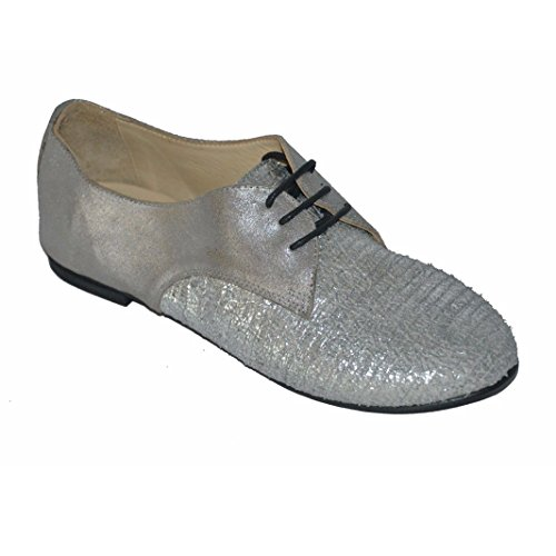 KUDETA' scarpa donna multimateriale argento Made in Italy, AL46 tg37