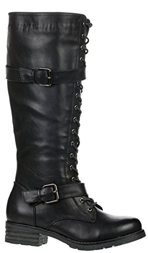 Top Moda Women's COCO 1 Knee High Riding Boot Black Lace Up