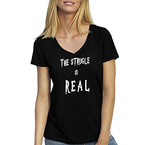 The Strugle Is Real T-Shirt camiseta Cuello V para la Mujer Negro