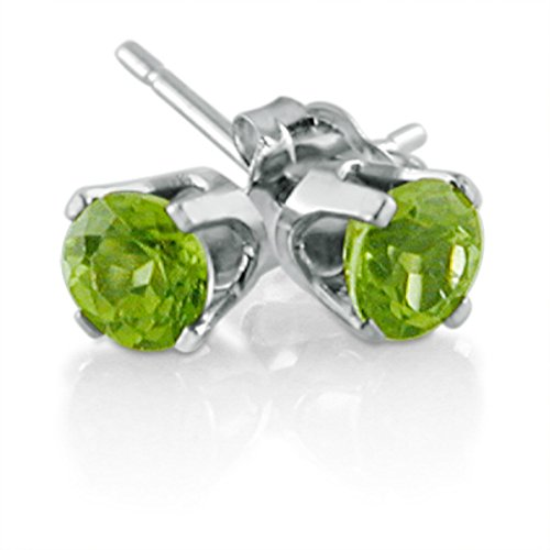 14K White Gold Round Peridot Stud Earrings (4 - 14k Gold Peridot Earrings