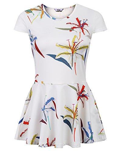 ELESOL Women's Cap Sleeve Casual Floral Print Peplum Tunic Tops White XL (Cap Peplum)