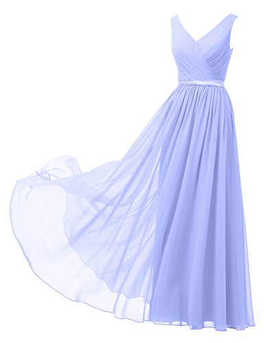 Alicepub V-Neck Chiffon Bridesmaid Dress Long Party Prom Evening Dress Sleeveless