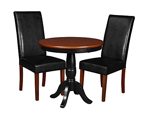 "Niche Mod 30"" Round Pedestal Table & 2 Tyler Dining Room Chairs, Cherry/Black"
