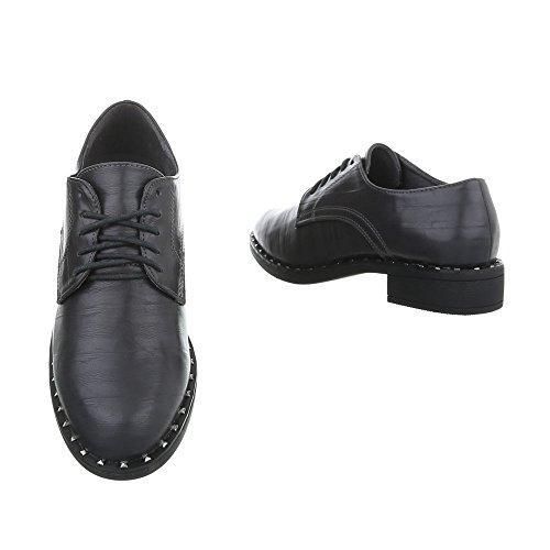 Ital-Design Women's Loafer Flats Block Heel Lace-UPS Dark Grey 2017-9 OyPuHE