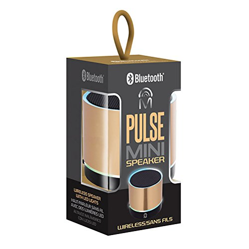 Mental Beats Pulse Bluetooth Mini Speaker with LED Lights - Gold (Mini Speaker Beats Portable)