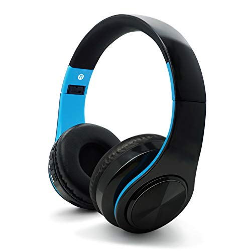 GAMING Bluetooth Headphones with Mic, Wireless Noise Cancelling Headset, Over-ear Comfortable Earpads, Headset with Bluetooth V5, 250 Hours Playtime, Blue