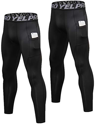 Lavento Men's Compression Pants Baselayer Cool Dry Pocket Running Ankle Leggings Active Tights (2 Pack-3911 Black,X-Large)