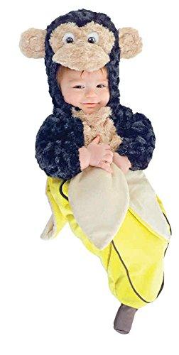 [UHC Baby's Monkey In A Banana Plush Bunting Infant Halloween Costume, 0-6M] (Banana Bunting Costumes)